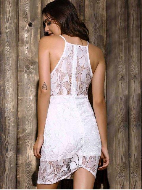 outfits White Lace Spliced Spaghetti Straps Sleeveless Dress - WHITE M Mobile