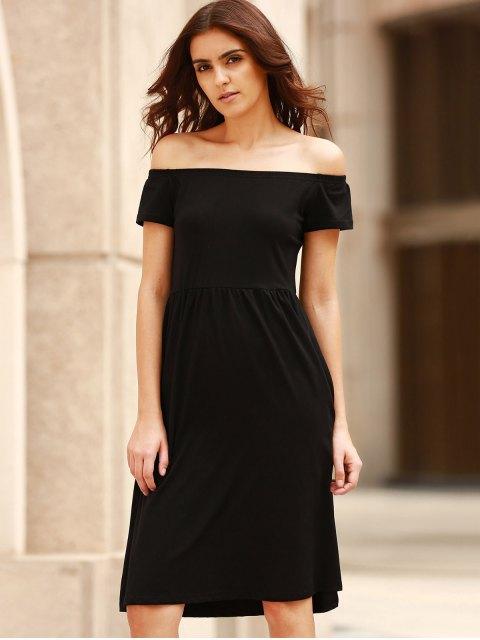 latest Solid Color Off The Shoulder Short Sleeve Dress - BLACK 2XL Mobile