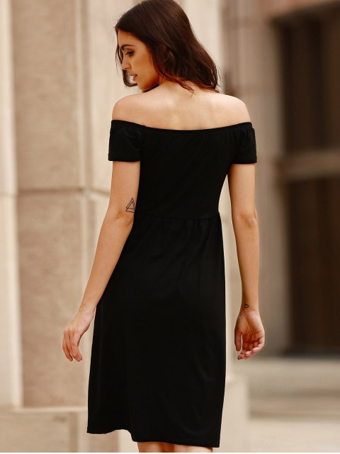 shop Solid Color Off The Shoulder Short Sleeve Dress - BLACK L Mobile