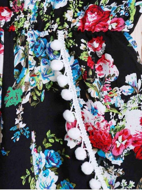lady Spaghetti Strap Laciness Floral Romper - BLACK L Mobile