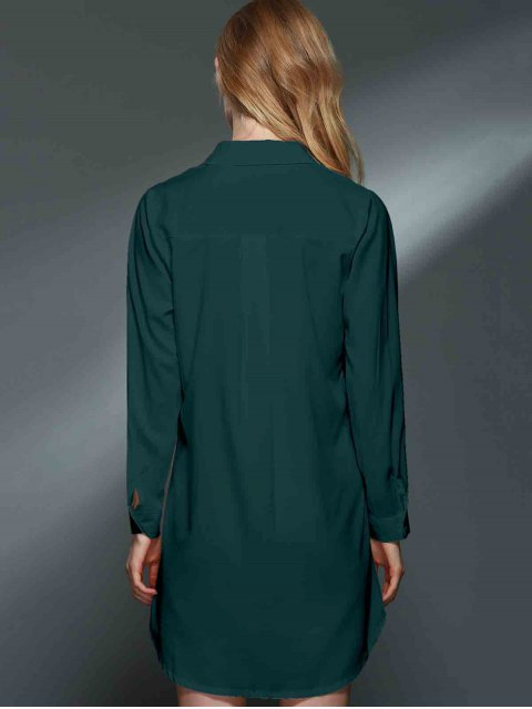 women's Bowknot Embellished Tunic Shirt Dress - GREEN 2XL Mobile