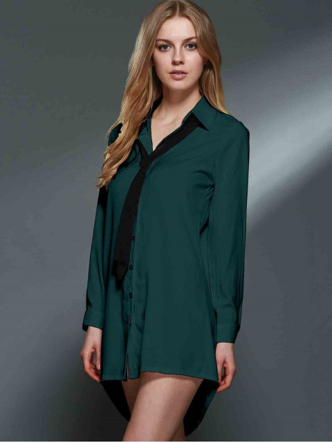 affordable Bowknot Embellished Tunic Shirt Dress - GREEN S Mobile