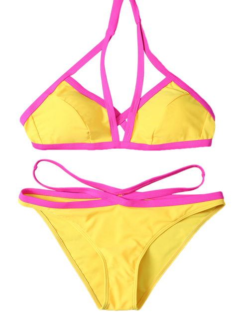 hot Color Block High Cut Bikini Set - YELLOW L Mobile