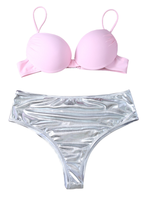 fashion Underwire Bikini Top and Metallic Bottoms - PINK + SILVER S Mobile