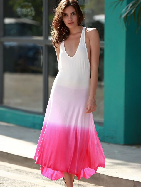 shop Pink Ombre Color Plunging Neck Sleeveless Sundress - PINK XL Mobile