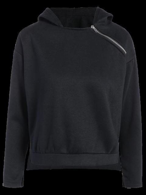 best Zipped Neckline Hoodie - BLACK S Mobile