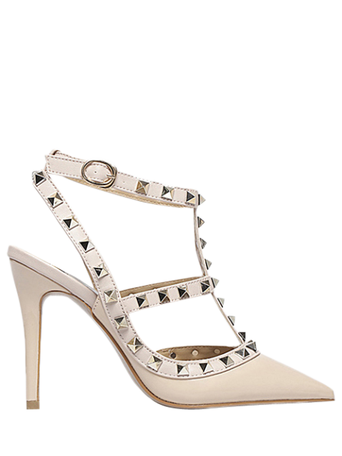women's Strap Rivet Pointed Toe Pumps -   Mobile