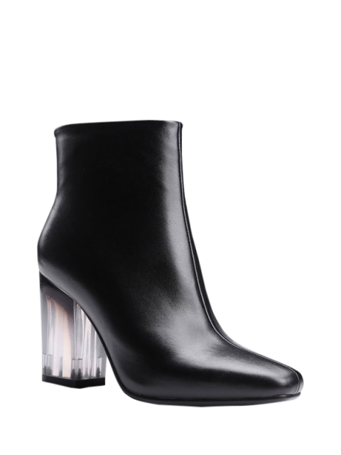 chic Clear Heel Zipper Square Toe Ankle Boots - BLACK 39 Mobile