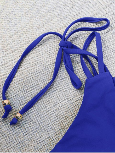 sale Plunge Bikini Top and Thong Bikini Bottoms - BLUE S Mobile