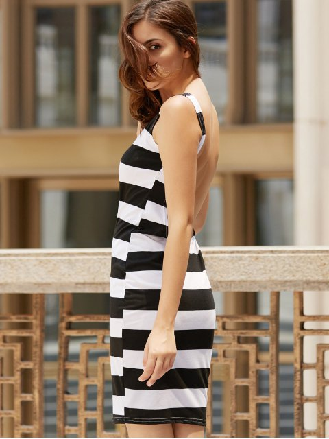 ladies Backless Striped Sheath Dress - WHITE AND BLACK L Mobile