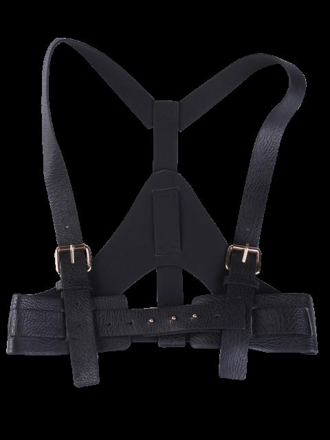 womens Faux Leather Belt Suspenders - BLACK  Mobile