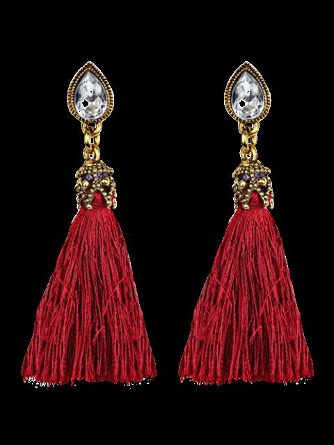 shops Rhinestone Tassel Water Drop Earrings - RED  Mobile
