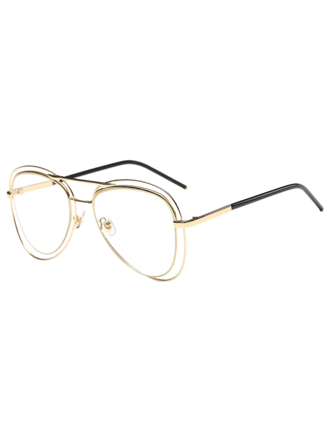 unique Double Rims Transparent Lens Pilot Sunglasses - GOLDEN  Mobile