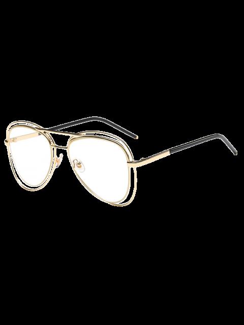 unique Double Rims Transparent Lens Pilot Sunglasses - GOLDEN  Mobile