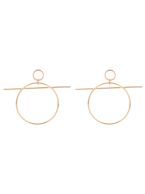 latest Circle Bar Drop Earrings - GOLDEN  Mobile