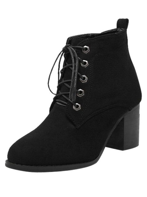 new Block Heel Tie Up Suede Ankle Boots - BLACK 37 Mobile