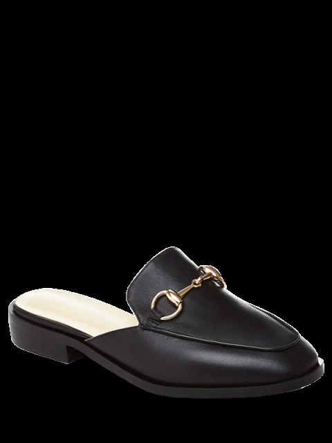 unique Metal Solid Color Flat Heel Sandals - BLACK 35 Mobile