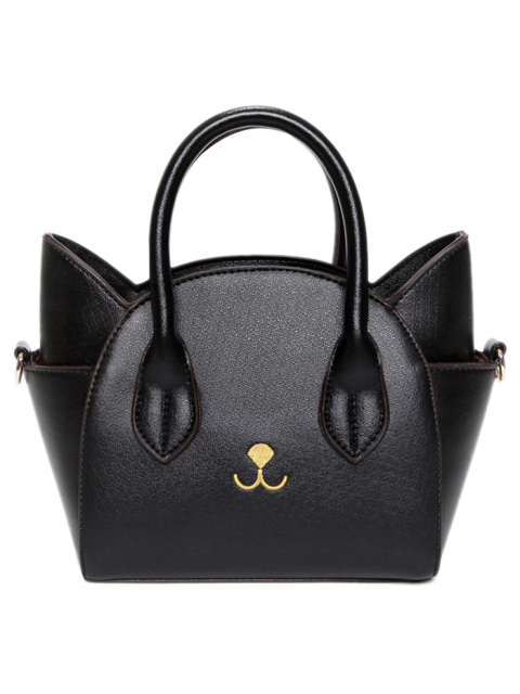 trendy Cat Shape Solid Color Tote Bag - BLACK  Mobile