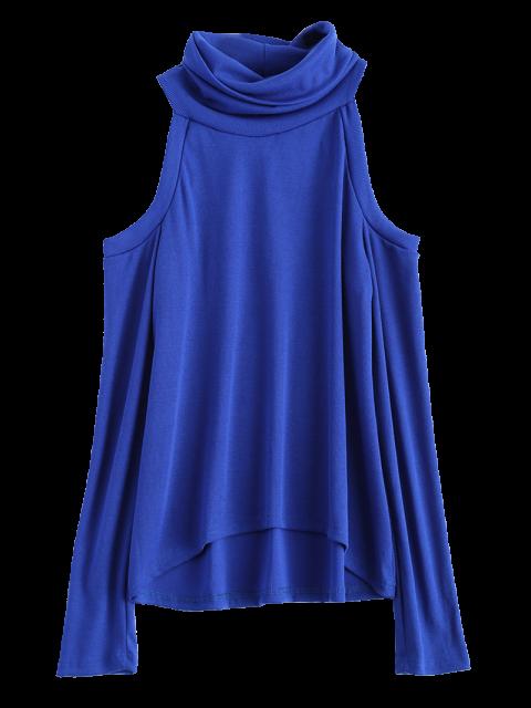 womens Cold Shoulder Turtle Neck Knitwear - BLUE M Mobile