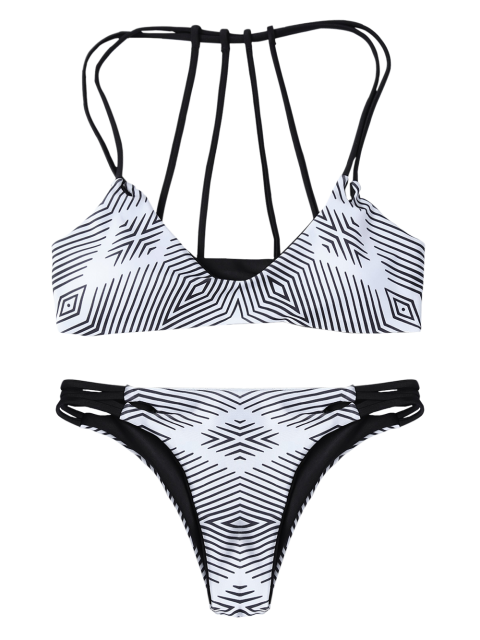 ladies Stripes Strappy Bikini - WHITE AND BLACK S Mobile