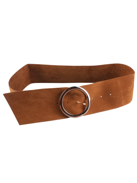trendy Hollow Ring Velvet Belt - CAMEL  Mobile