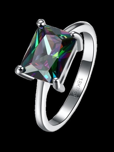 ladies Geometric Artificial Zircon Ring - SILVER 8 Mobile