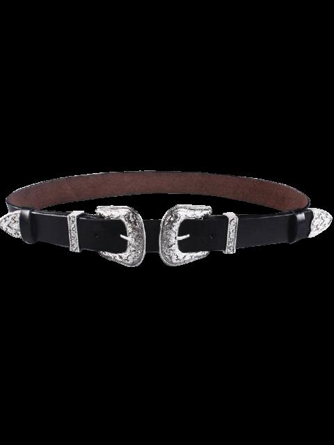shops Cameo Double Buckle Faux Leather Belt - BLACK  Mobile