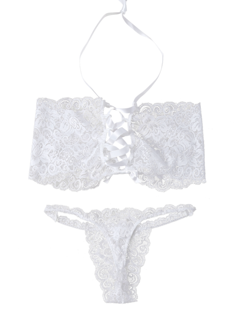 latest Unlined Lace Bandeau Bra and Panty - WHITE L Mobile