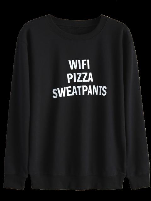 outfits Text Print Crewneck Sweatshirt - BLACK L Mobile