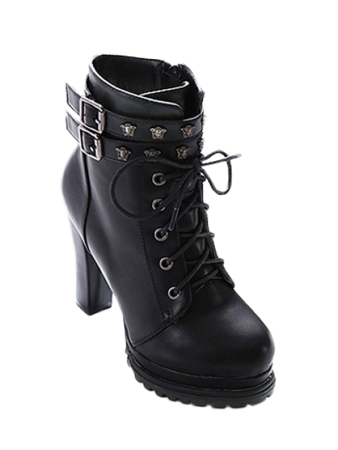 best Double Buckle Lace-Up Metal Ankle Boots - BLACK 39 Mobile