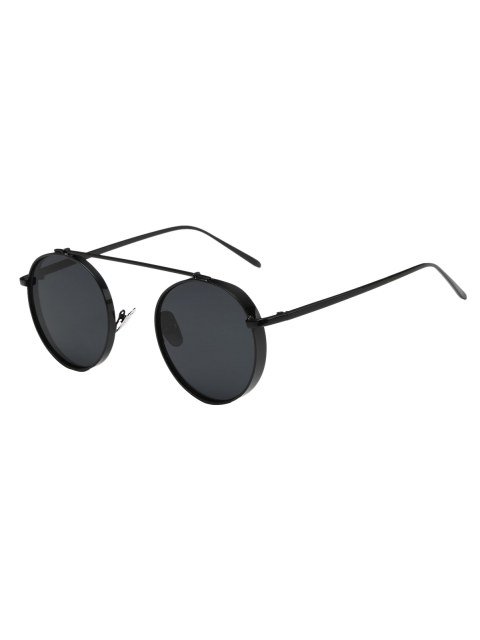 ladies Chunky Frame Round Sunglasses - BLACK  Mobile