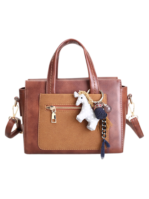 new Color Blocking Pendant Handbag - BROWN  Mobile