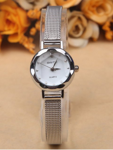 outfit Alloy Band Embellished Quartz Watch - SILVER  Mobile