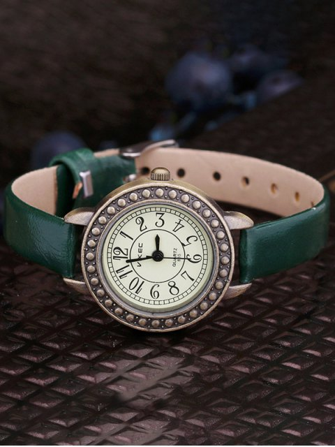 lady Faux Leather Alloy Watch - GREEN  Mobile