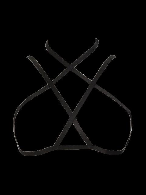 affordable Elastic Bra Bondage Harness Body Jewelry - BLACK  Mobile