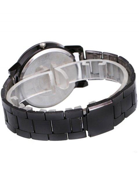 latest Circle Casual Steel Band Quartz Watch - BLACK  Mobile
