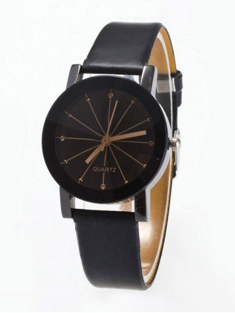 latest Rhinestone Geometric Faux Leather Quartz Watch - BLACK  Mobile
