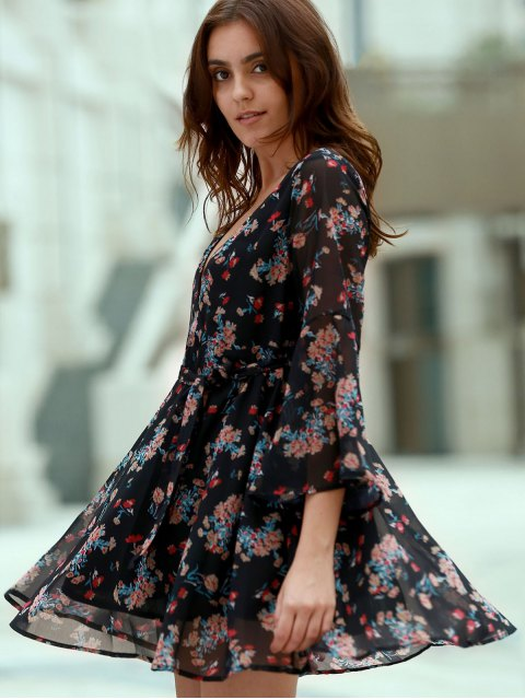 shops Flare Sleeve Floral Chiffon Dress - BLACK M Mobile