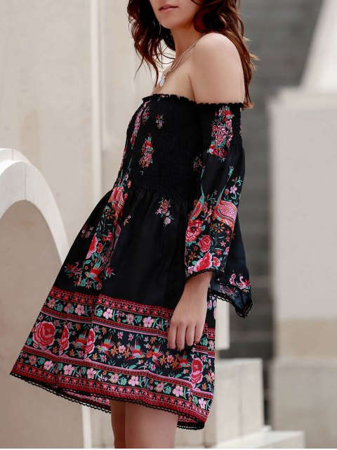 women Off-The-Shoulder Printed Dress - BLACK L Mobile