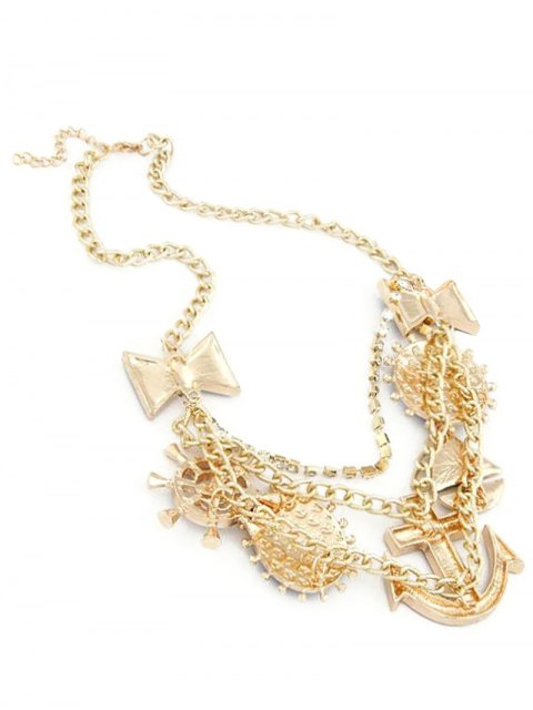 outfit Anchor Bow Skull Statement Necklace - GOLDEN  Mobile