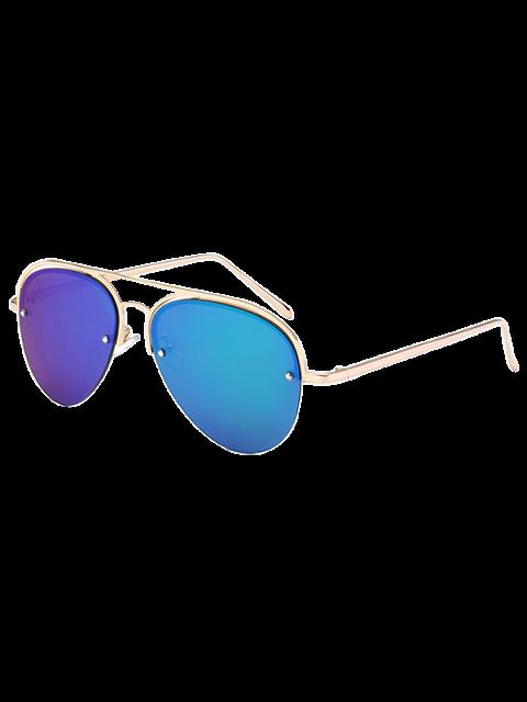 lady Half Frame Pilot Mirrored Sunglasses - ICE BLUE  Mobile