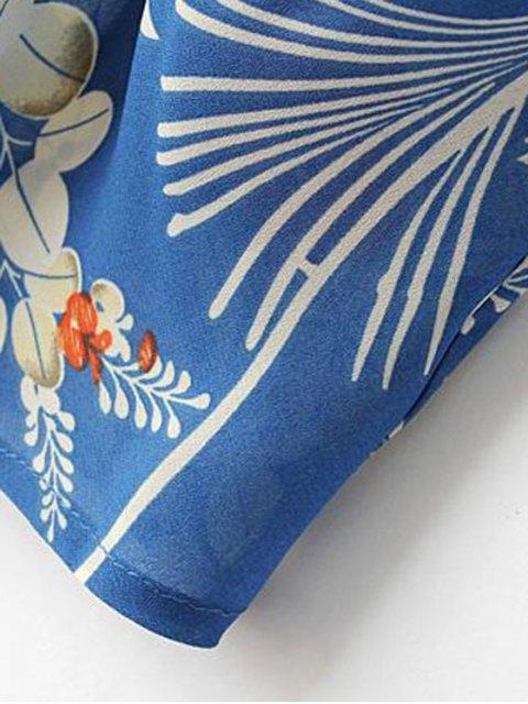 buy Open Front Floral Print Kimono Blouse - BLUE M Mobile