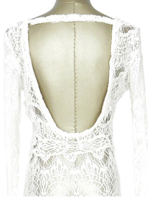 new White Lace Long Sleeve Maxi Cover-Up - WHITE ONE SIZE(FIT SIZE XS TO M) Mobile
