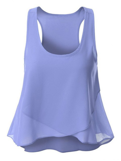 lady Overlaped Chiffon Tank Top - AZURE S Mobile