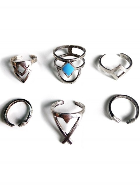 buy Ethnic Style Hollow Rhombus Rings - SILVER  Mobile