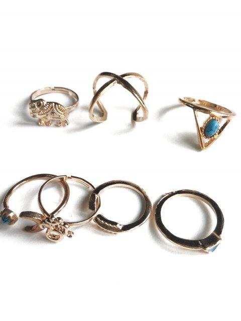 sale Ethnic Style Moon Elephant Rings - GOLDEN  Mobile