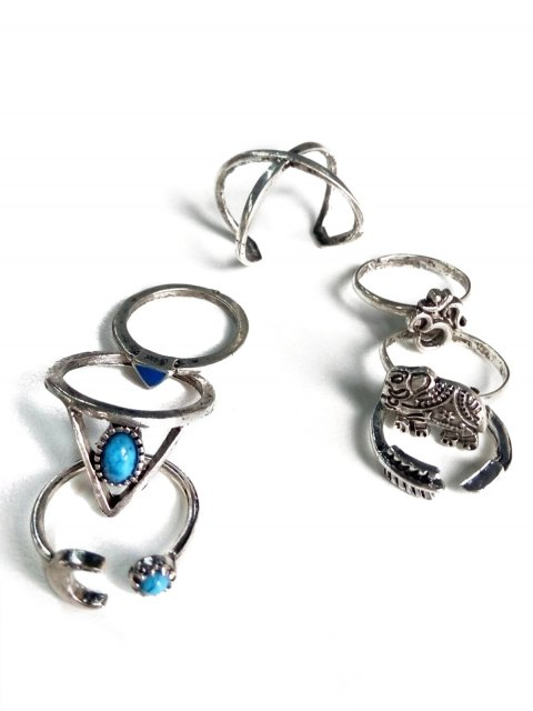unique Ethnic Style Moon Elephant Rings - SILVER  Mobile