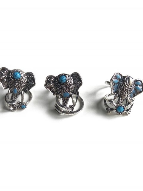 fancy Faux Turquoise Elephant Head Ethnic Style Rings - SILVER  Mobile