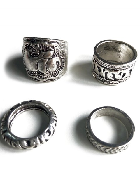 chic Elephant Head Cameo Ethnic Style Rings - SILVER  Mobile