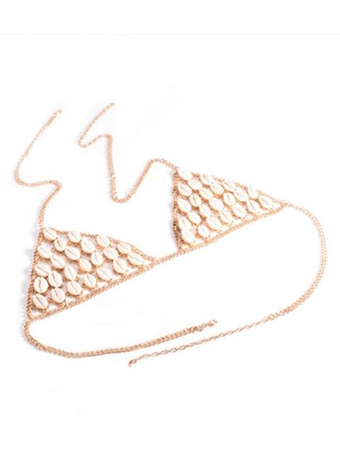 womens Shells Bra Body Chain - GOLDEN  Mobile